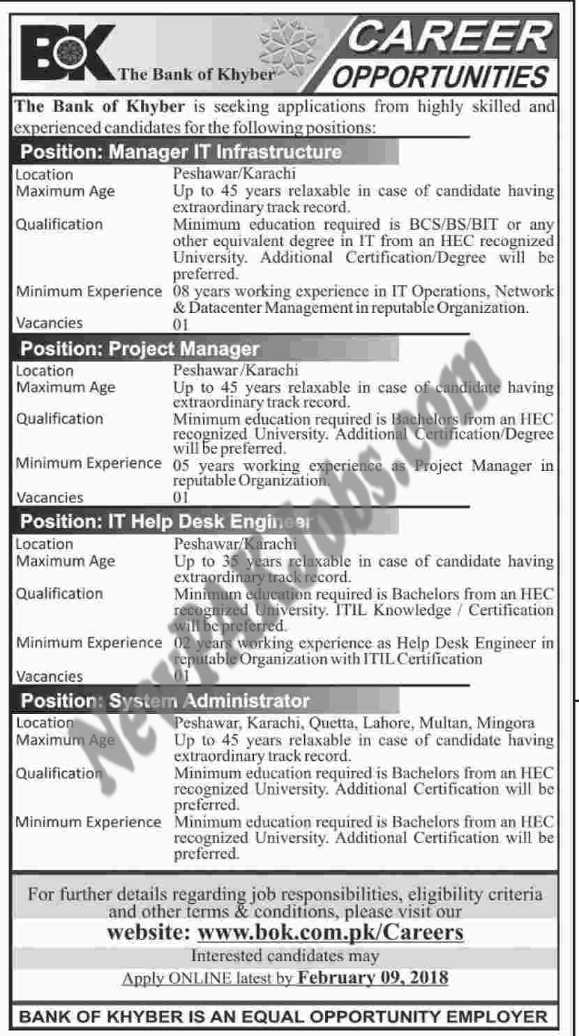 New Vacancies announced in The Bank of Khyber