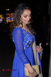 Telugu Actress Tejaswi Madivada Pos in Blue Long Dress at Nanna Nenu Na Boyfriends Audio Launch  0064.JPG