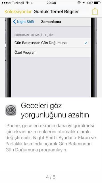 iPhone 7 Night Shift Özelliğini Aktif ettirmek