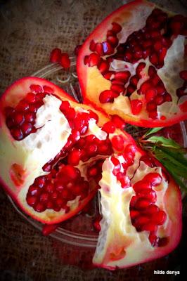 Cut pomegranates