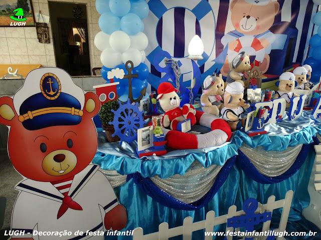 Tema Ursinho Marinheiro - Festa infantil - mesa temática Ursinho Marinheiro