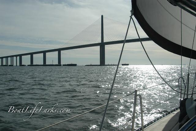 Sailing under the Skyway Bridge, Tampa Bay