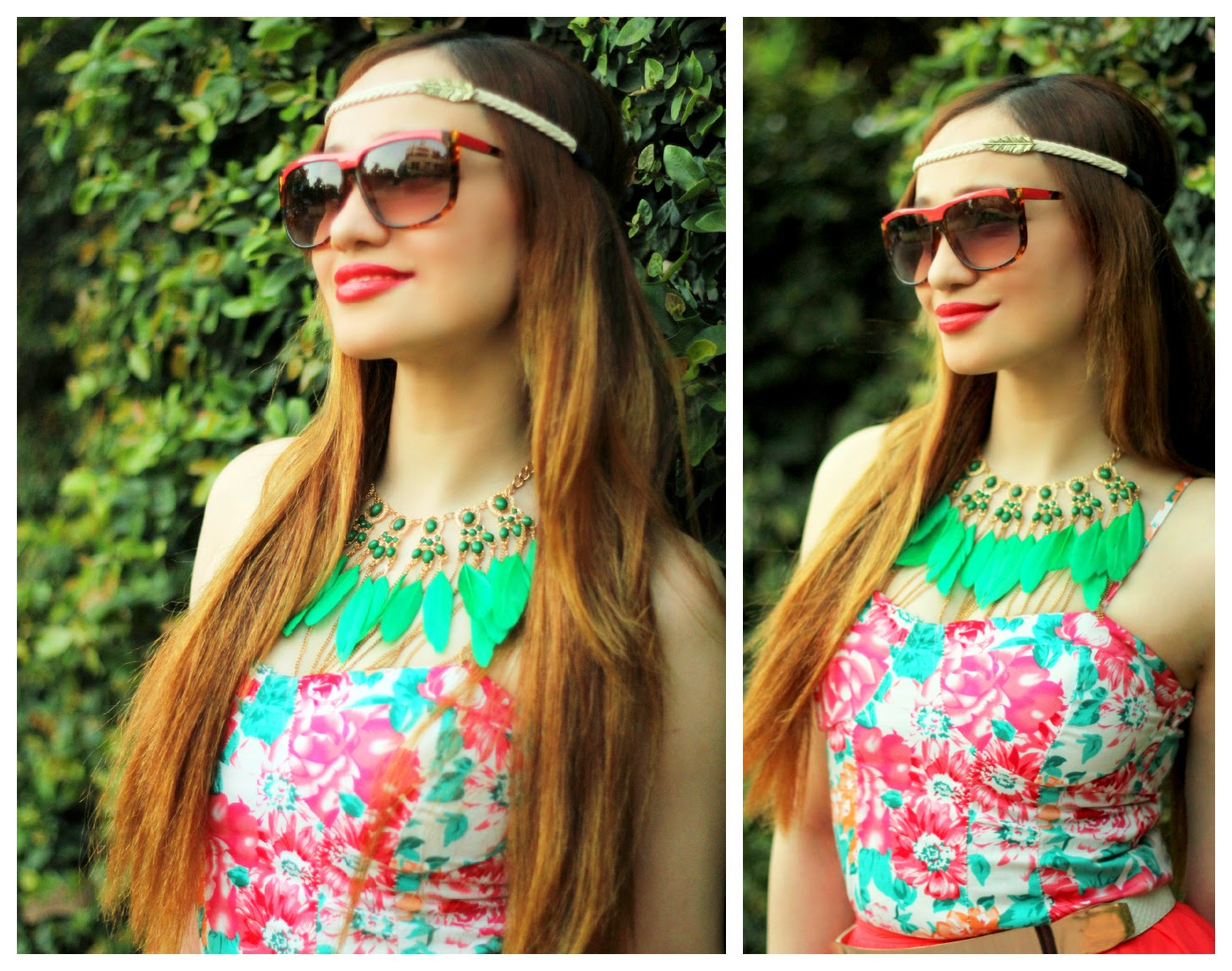 Floral Top, Green Feather Necklace & Leaf Head-band
