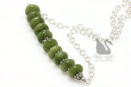 Nephrite Jade Gemstone Beaded Necklace (N049) -another view
