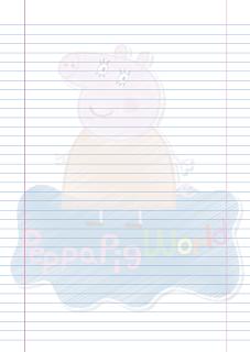 Folha Papel Pautado Mamae Pig rabiscado PDF para imprimir na folha A4