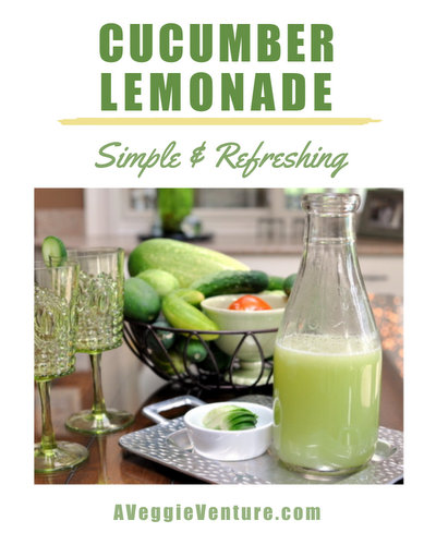 Cucumber Lemonade ♥ AVeggieVenture.com, simple and refreshing for summer.