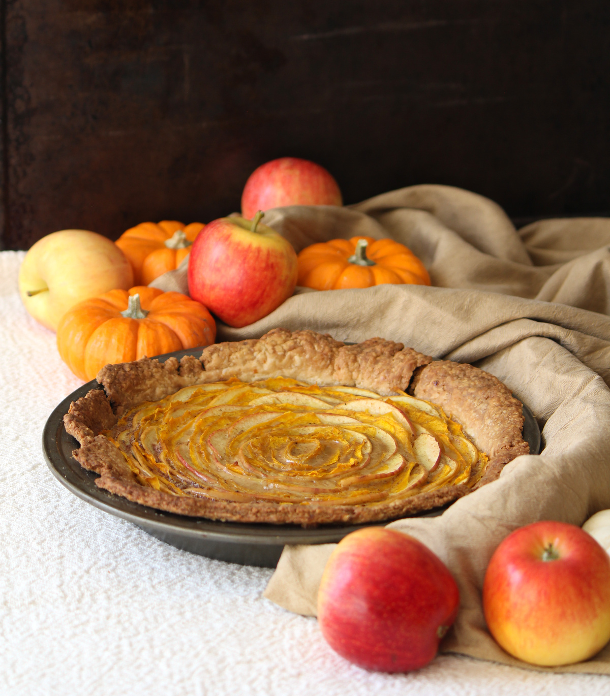 This beautiful pumpkin spice pie is made from thinly sliced pumpkin and apple - Inspired by Robin Hobb's Fool's Assassin