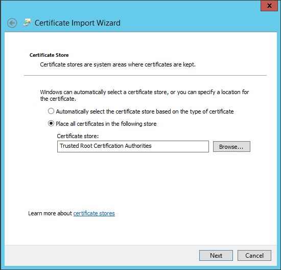 Select Trusted Root Certification Authorities import