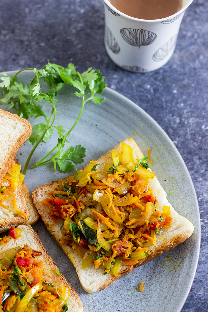 Bangalore Iyengar Bakery Style bread toast topped with an onion-carrot masala