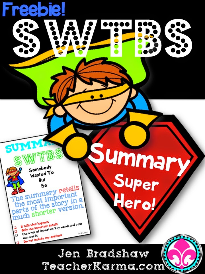 FREEBIE!  Summary Super Hero!  Summary Writing with TeacherKarma.com