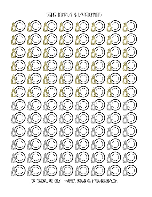 Free Printable Reformatted 1/2 Silver & 1/2 Gold Dishes Icons from myplannerenvy.com