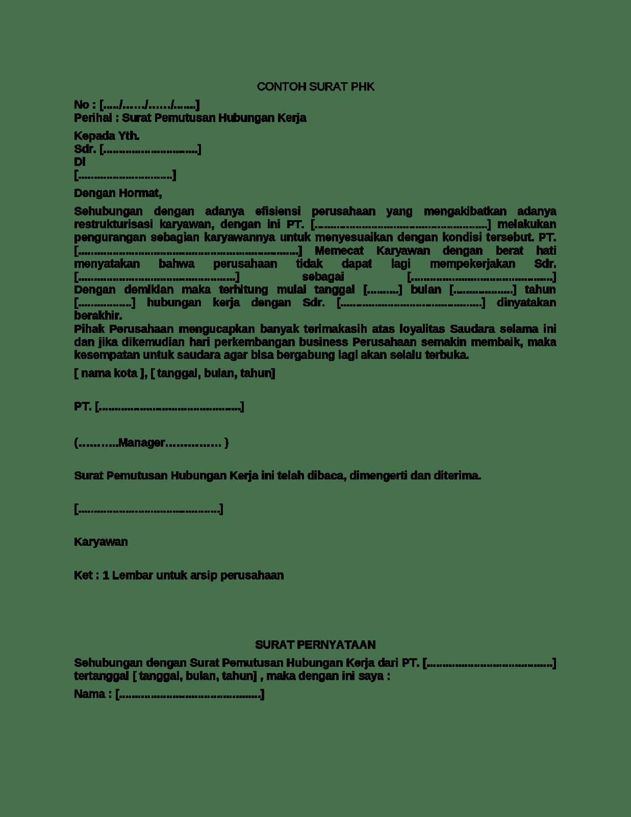 Contoh Surat Pemberhentian Kerja Pemutusan Hubungan