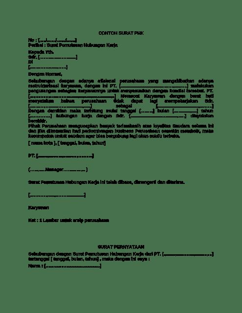 Contoh Surat Pemberhentian Karyawan Swasta
