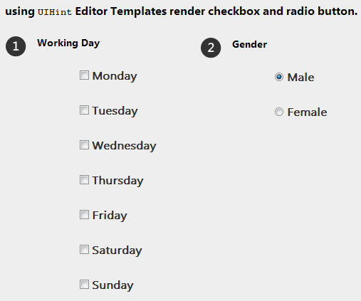 checkbox and radio button editor templates in mvc 4 - jQuery 2 DotNet