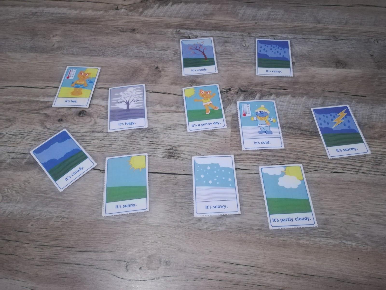 flashcards anglais apprendre météo enfants