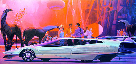 1970s Science Fiction art of a long silvery wedge like car amongst admirers and other worldly vegetation and creatures.