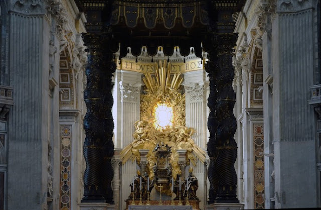 Gian Lorenzo Bernini; View to Cathedra Petri (Chair of St. Peter), gilded bronze, gold, wood, stained glass; psartworks.in