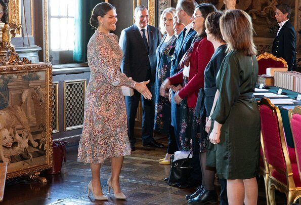 Crown Princess Victoria wore a floral print bow dress by byTiMo. Crown Princess Victoria wore by Timo printed dress