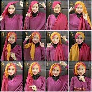 31 Tutorial Hijab Dua Warna yang Bisa Kamu Kreasikan