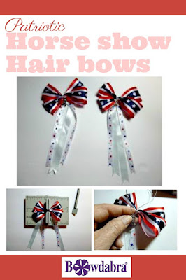 patriotic horse show hair bows
