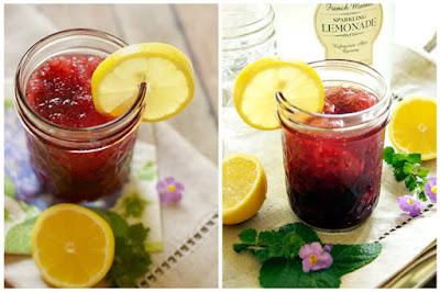 hình lemon blueberry moonshine slush cocktail