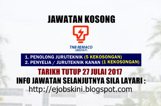 Jawatan Kosong TNB Repair and Maintenance Sdn Bhd Julai 2017