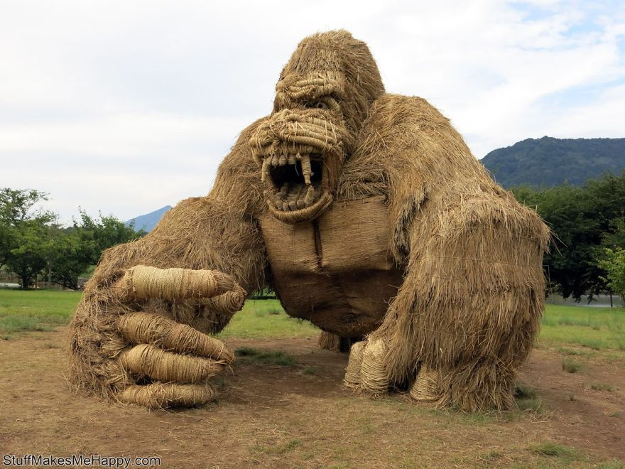 Super-Sized Rice Straw Sculptures At the Wara Art Festival In Japan