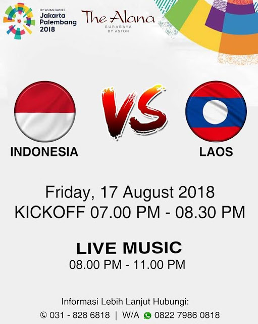 Live Streaming Laos vs Indonesia Asian Games 17.8.2018