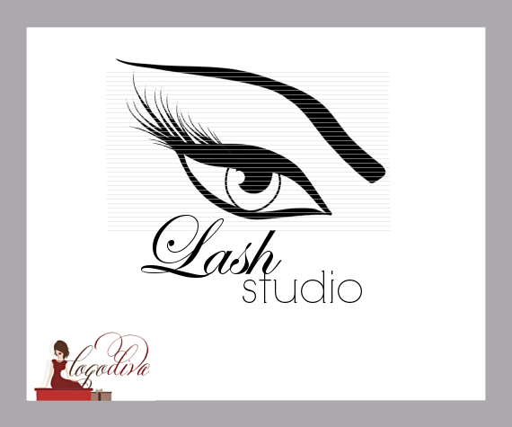 Exclusive Illustrated Long Eyelashes and Thick Eyebrow Logo for Makeup Artist or Lash Studio by Logo Diva