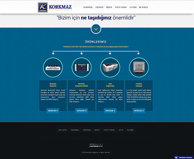 Korkmaz Soğutma Responsive Web Tasarım Ana Sayfa