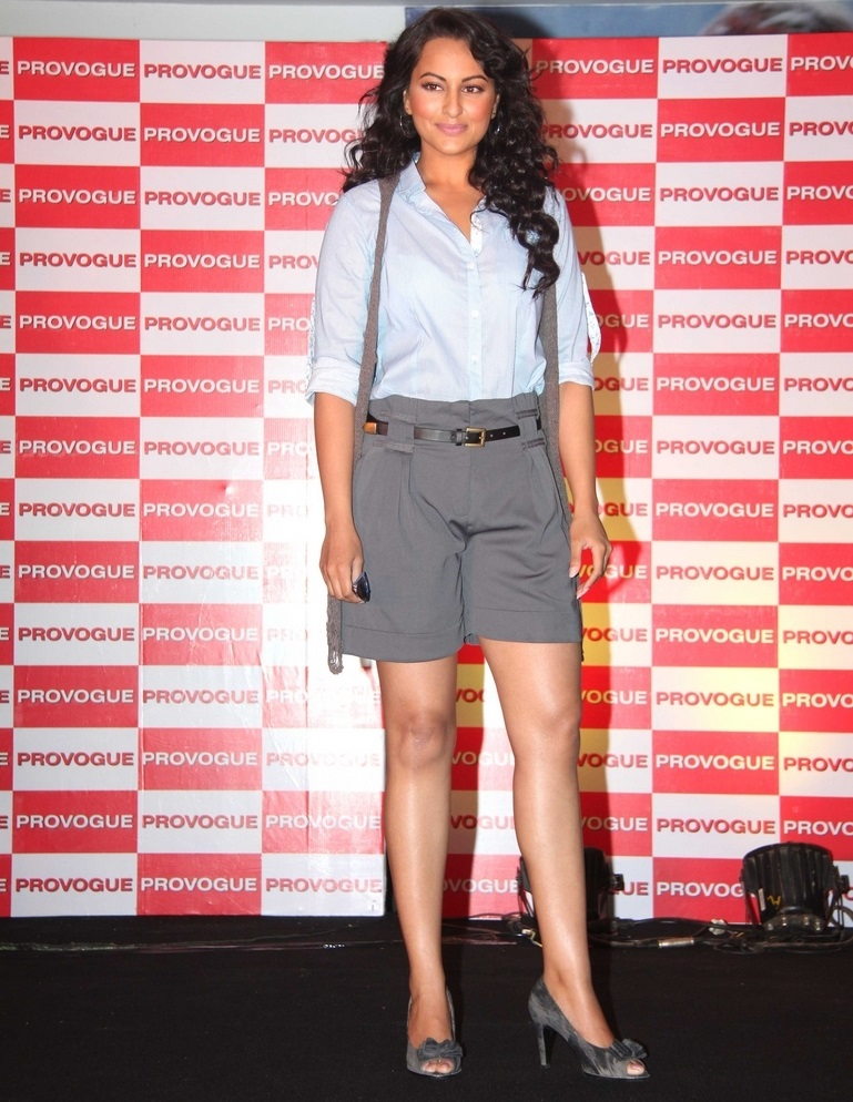 Hot Actress Sonakshi Sinha Legs Thighs Show Stills In Blue Shirt