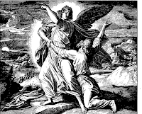Jacob wrestles with an angel to be blessed and the angel changes his name to Israel and blesses. Genesis 32: 24-32.