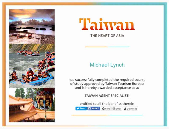Taiwan Agent Specialist Certificate