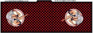 Etiqueta Tic Tac para imprimir gratis de Pin Up en Negro con Lunares Rojos.