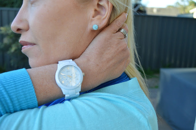 Sydney Fashion Hunter The Wednesday Pants #47 - Azure Ombre - Guess watch & Envy Earrings