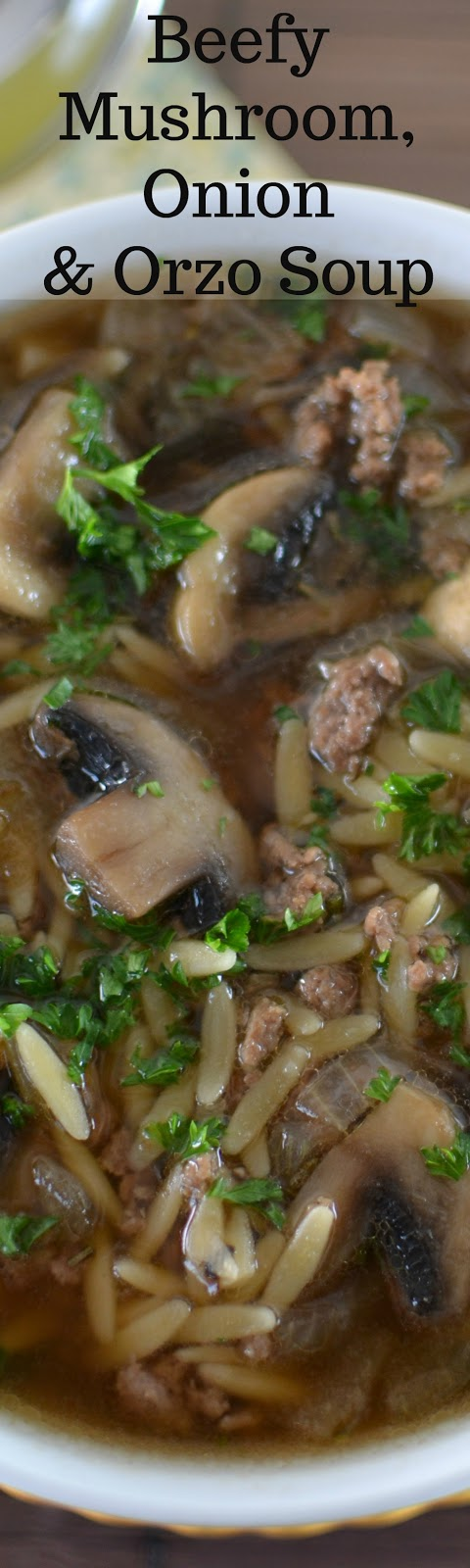 Beefy Mushroom, Onion and Orzo Soup Recipe from Hot Eats and Cool Reads! This soup is hearty, flavorful and great for lunch or dinner! Ground beef makes it budget friendly and it's also a great freezer meal option!