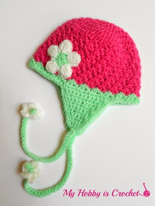 My Hobby Is Crochet Blooming Strawberry Baby Earflap Hat
