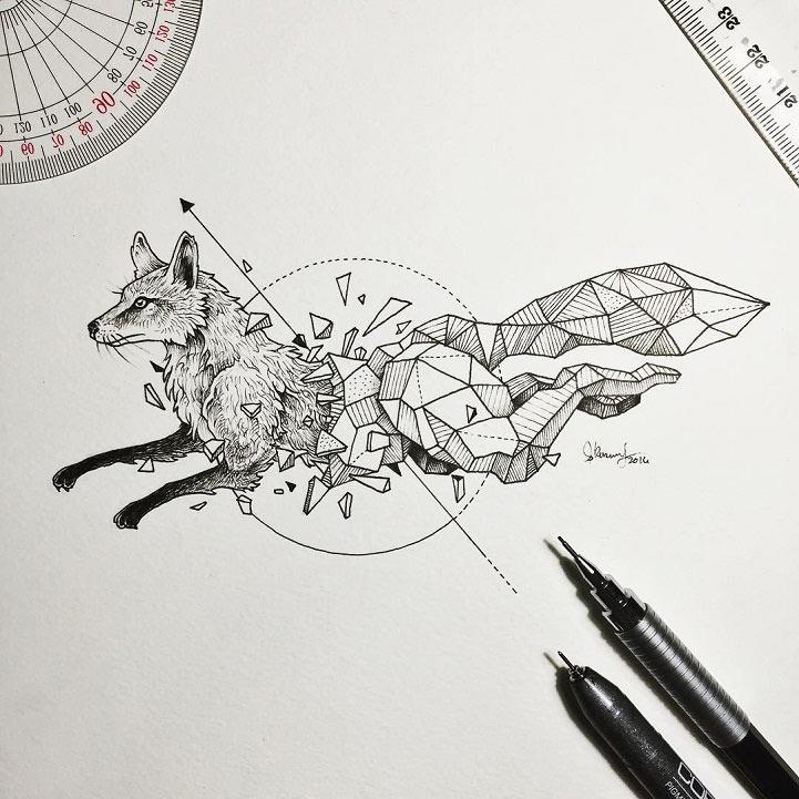 Ilustraciones de animales salvajes emergen de fundas geométricas