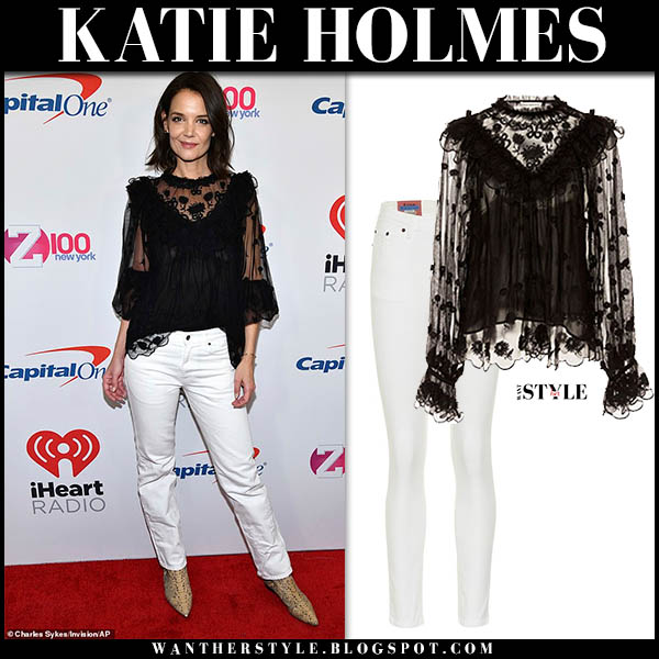 Katie Holmes in black lace ulla johnson blouse and white acne jeans at Jingle Ball 2018 holiday fashion