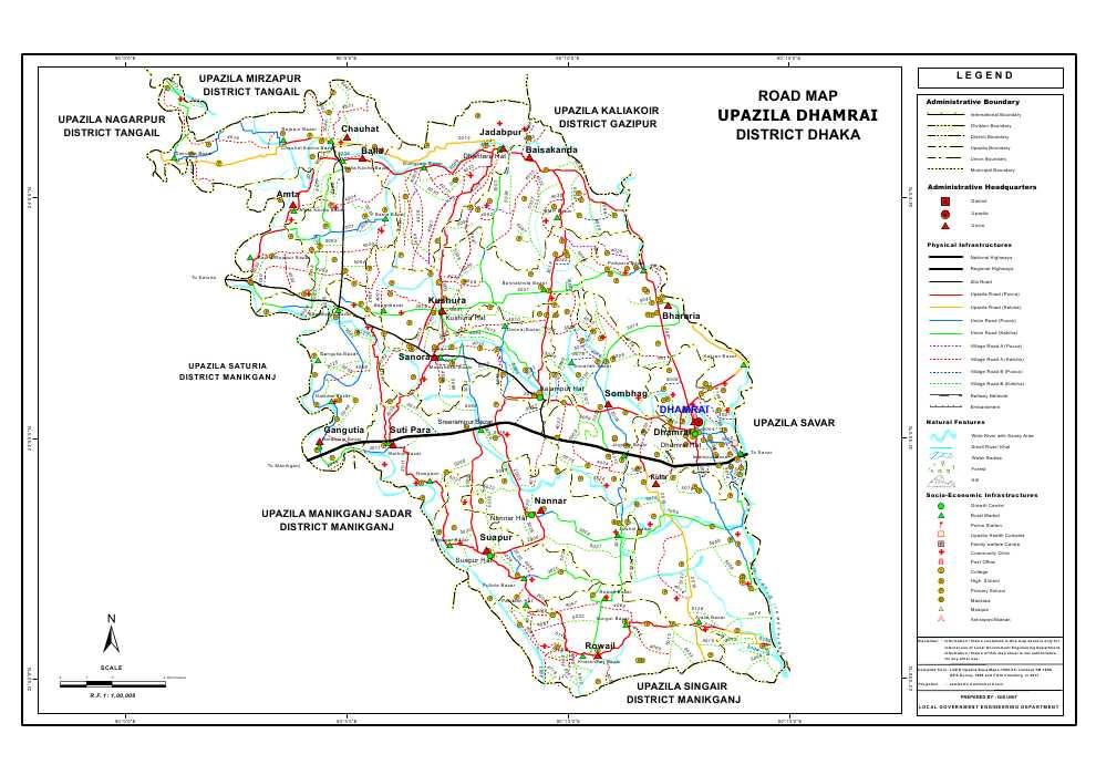 Dhamrai Upazila Road Map Dhaka District Bangladesh