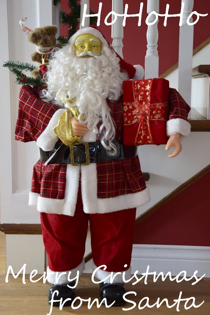 Weihnachtsdeko mit Santa Claus, Weihnachtsmann, Amerikanisch, Deko, Dekoration, Weihnachtsdeko, Treppenhaus
