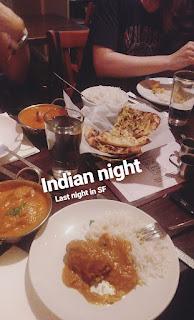 kolacja w indyjskiej restauracji przy Alamo Square