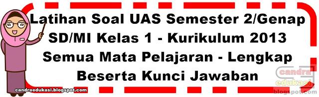 Pada kesempatan ini saya akan berbagi Soal UKK Soal UKK/UAS Kelas 1 Semester 2 K13 Lengkap