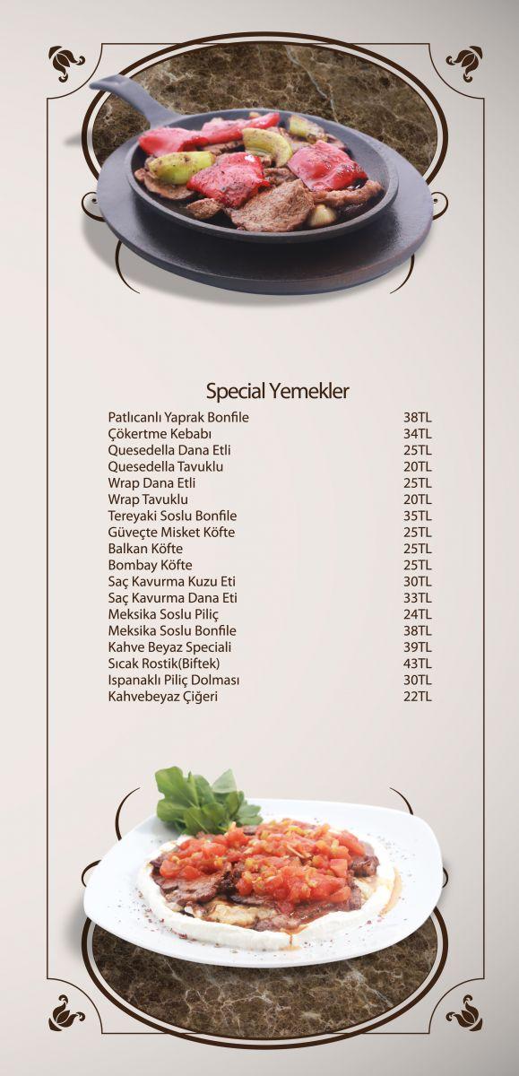 kahve beyaz bursa menü fiyat listesi