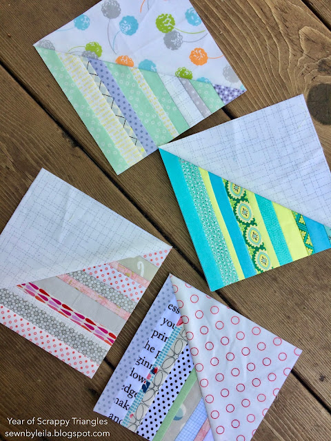 "6"" Scrappy Foundation Paper Pieced half square triangles quilt block from the Year of Scrappy Triangles at Sewn by Leila Gardunia - free quilt block tutorial pattern"
