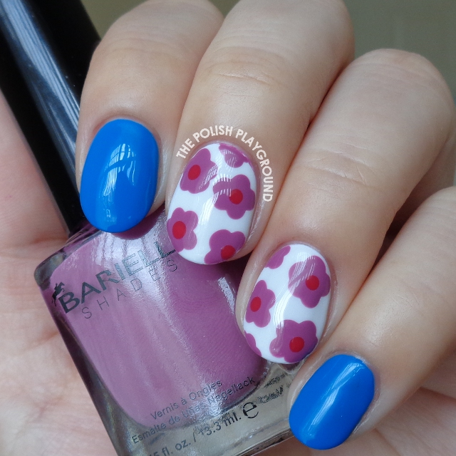 Blue with Purple Dotted Floral Nail Art