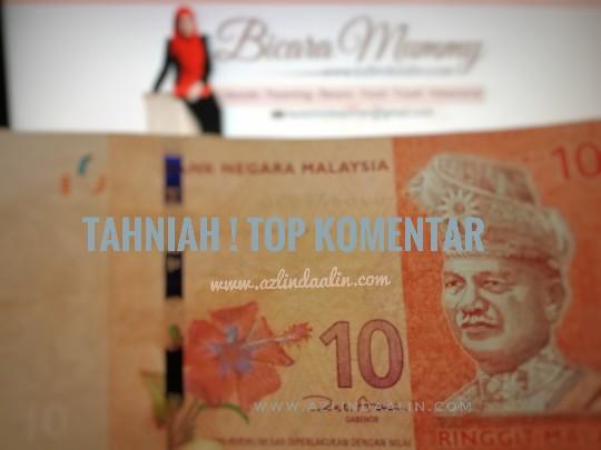 RM20 X 2 REWARDS TOP KOMENTAR BLOG AZLINDA OCTOBER 2018