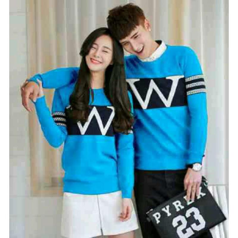Jual Online Sweater Wonder Neo Turquise Black Couple Murah Jakarta Bahan Babytery Terbaru
