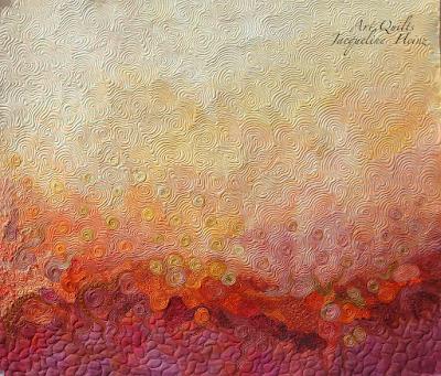 Ein textiler Wandbehang von Jacqueline Heinz mit Freiemotion Quilting und Applikationen