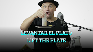 Levantar el plato con la servilleta, ATMOSPHERIC PRESSURE, Lift the plate with tissue paper